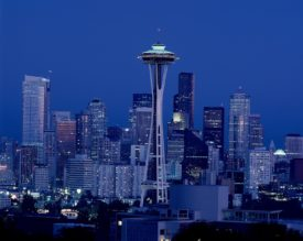 Seattle at night with Space Needle
